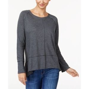 Charcoal Heather Cotton High-Low Top